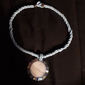 Blue Rope Necklace with charm